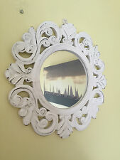 White Shabby Chic Rustic Wood Round Mirror Carved Edge Beach Seaside French 30cm