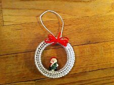 handmade Christmas ornament Santa Claus Circle Design Red Ribbon Unique Holiday