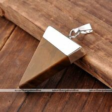 Natural Silver Tiger Eye Stone Slice Triangle Geometry Pyramid Healing Pendant