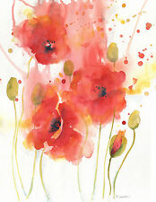 Original real painting, POPPY FLOWERS, Floral&Gardens,Illustration
