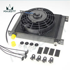"28 Row Transmission Radiator Engine Oil Cooler An10 + 7"" 12V Electric FAN Kit BK"