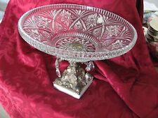 Hollywood Regency 1970's large bowl prisms marble cast metal stand gorgeous!