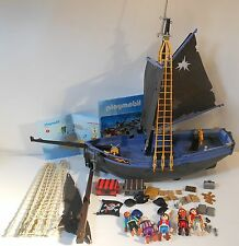 PLAYMOBIL over 50 pc LOT PIRATE SHIP & BRITISH PRISONER ROCK ISLAND 5 FIGURES