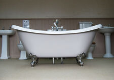 PHOENIX BATEAU SLIPPER ROLL TOP BATH PAINTED IN FARROW AND BALL WITH WASTE PLUG