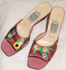 Emma hope's shoes avec holographique fleurs & oiseaux mule sandels taille EUR40 uk 7