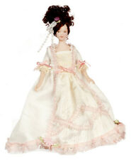 Dollhouse Miniature Doll Mother Victorian Porcelain Peach & Cream Dress 1:12