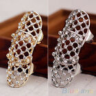 Fashionable Punk Hollow Rhinestone Alloy Finger Knuckle Joint Personalized Ring