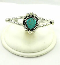 Old Pawn Southwestern Sterling Silver Cuff Bracelet with Turquoise Stone