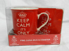 Fine China Mug and Cork Back Coaster Set - Keep Calm it's Only Christmas - BNIB