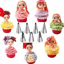 7pcs Russian Barbie Dress Icing Nozzles Decorating Tips Set Baking Cake Tool #w