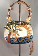 Mary Frances COCONUT GROVE All Beaded Blue & Green Purse w/ MOP Sun & Dustbag