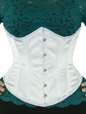 "345 Authentic White Satin 30"" Inch Underbust Corset Steel Boned."