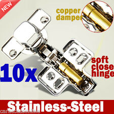10x cabinet Door hinge Cupboard kitchen Soft Close Full Overlay Stainless steel