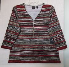 Rafaella Size 2X Stripe knit top, 3/4 sleeve, zipper neck, browns, red,black NWT