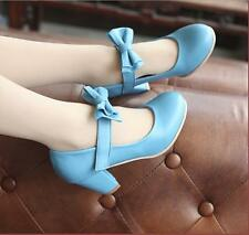 Sweet Womens Mary Jane Lady Bowknot Chunky Block Heels Lolita Shoes Plus Size