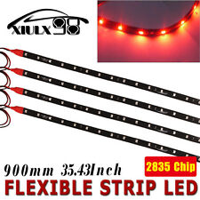 4x 90CM Red Flexible LED Strip Brake Tail Stop Light Underbody Car Motor 12V US