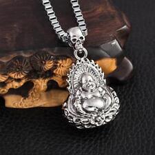"""Cool Men's LF Stainless Steel Skull Buddha Maitreya Pendant Necklace 22"""""""