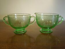 Antique Depression Glass Green Art Deco Creamer Sugar Bowl