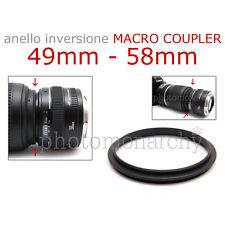 Anello MACRO COUPLER adattatore INVERSIONE 49mm - 58mm 49 58 Canon Nikon Sony