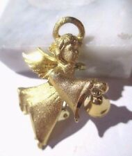 CHRISMAS PIN ANGEL HOLDING BELL VINTAGE SIGNED UU FLORENTINE SHINY ACCENTS USA