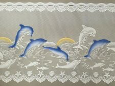 WHITE LACE CURTAIN - Dolphin print - 120CM -  CAFE STYLE HIGH QUALITY continuous