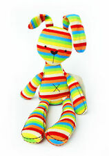 colorful rainbow stripe rabbit soft plush toy bunny baby placate toy gift 1pc