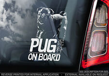 Pug - Car Window Sticker - Chinese Toy Black Coat Dog On Board Sign Gift - TYP2