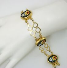 """Lovely Vintage Floral MICRO MOSAIC Double Link Gold Tone Bracelet 8"""" Jewelry"""