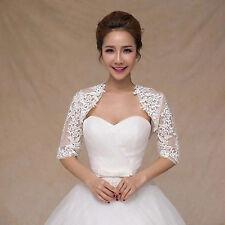 3/4 Sleeved White Lace Bolero Shrug Jacket Stole Wedding Prom Party Dress T29UKC