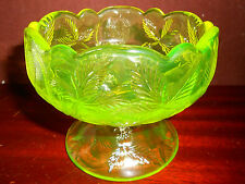 Vaseline uranium glass raised bowl / serving fruit candy strawberry yellow punch