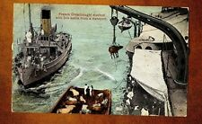 1915 French Dreadnought stocked with live cattle  WW1 Vintage PC