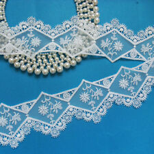 "2-1/4"" Wedding White Venise Embroidered Floral Net Lace Trims-1 Yard-T602"