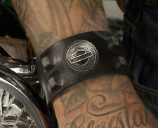 Harley-Davidson Mens Antique Nickel Studs Conchos Leather Wrist Cuff by LODIS