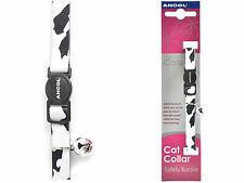 Ancol Camouflage Cat Kitten Collar with Safety Buckle Bell black blue pink green