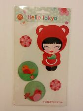 Hello Tokyo Iron on Patch Set - Japanese Girl Bird Flower Applique Fabric Trim