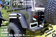 JEEP TJ WRANGLER black 2 PC DIAMOND PLATE REAR BODY ARMOR CORNER GUARD KIT..