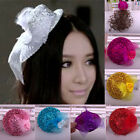 Women Feather Mini Top Bow Sequins Hat Lace Hair Clip Fascinator Cocktail Party