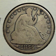 1854-O SILVER SEATED LIBERTY HALF DOLLAR FROM OLD TYPE COIN COLLECTION