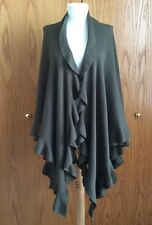 COLDWATER CREEK Cape Poncho Wrap Ruffles Olive Green One Size