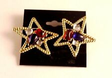 Vintage Trifari Star Red Blue White Jelly Belly Cabochon Gold tone Clip Earrings