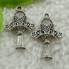 Free Ship 240 pieces tibet silver flower basket charms 27x17mm #1526
