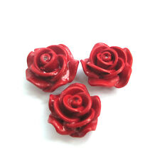 3Pcs Red Coral Rose Flower Beads Finding