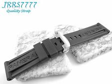 LO 24mm wristwatch strap Silicon Rubber Band diving Watch Bands Black new parts