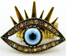 Gold Evil Eye Eyebrow Stretch Ring Crystal RHinestone Punk Biker Jewelry RD22