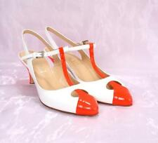 LORIBLU 3120c White / Orange Patent Leather Slingback T-Strap Sandals 37 / US 7