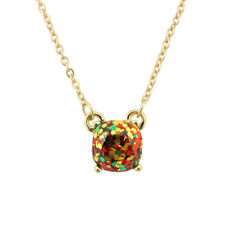 Gold Plated Rainbow Galaxy Glitter Resin Small Square Pendant Choker Necklace
