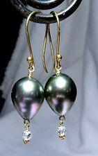 GORGEOUS 18K GOLD AAA TAHITIAN BLACK PEACOCK PEARL WHITE DIAMOND EARRINGS