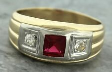 Modern Art Deco Style 14K 585 Yellow Gold Diamond Square Ruby Ring