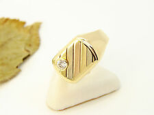 Ring Goldring 750 er 18Kt Herren Gr. 62 Gold Solitär Brillant 0,12ct Siegelring