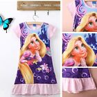 2015 Kids Girls Cartoon Tangled Short Sleeved Cotton Pajamas Nightdress Dress pf